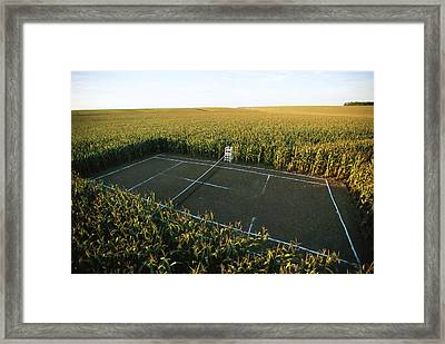 A Tennis Court Carved From A Corn Field Framed Print by Joel Sartore