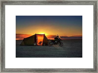 Framed Print featuring the photograph A Tent, A Motorcycle, And A Sunset On The Playa by Peter Thoeny