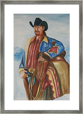 A Texas Horseman Framed Print by George Chacon