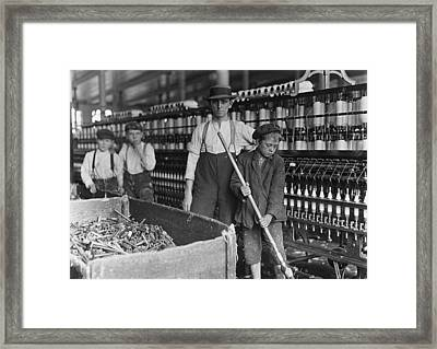 A Textile Mill. Sweeper And Doffer Boys Framed Print