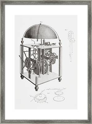 A Thirty Hour Clock With Alarm And Framed Print