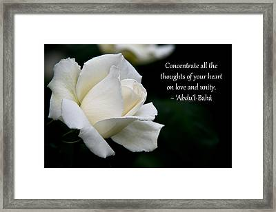 Framed Print featuring the photograph A Thought Of Peace by Baha'i Writings As Art