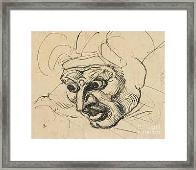 A Threatening Head Framed Print