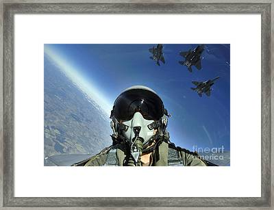 A Three-ship Formation Of F-15e Strike Framed Print by Stocktrek Images