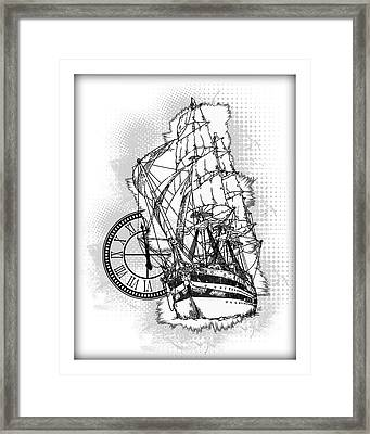 A Time To Sail Bw 2 Framed Print