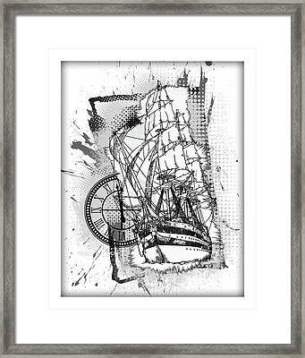 A Time To Sail Bw Framed Print