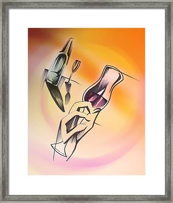 Framed Print featuring the drawing A Toast by Keith A Link