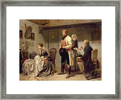 A Toast To The Engaged Couple Framed Print by Carl Wilhelm Huebner