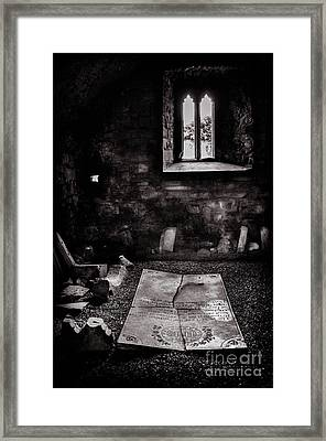 Framed Print featuring the photograph A Tombstone In Sligo Abbey Bw by RicardMN Photography