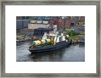 A Train Ferry In St Petersburg Carrying Freight Framed Print