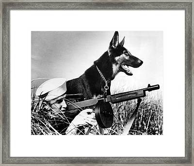 A Trained German Shepherd Sitting Watch Framed Print by Everett