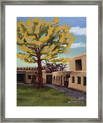 Framed Print featuring the painting A Tree Grows In The Courtyard, Palace Of The Governors, Santa Fe, Nm by Erin Fickert-Rowland