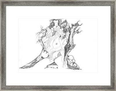 A Tree Human Forms And Some Rocks Framed Print by Padamvir Singh