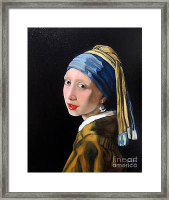 A Tribute To Vermeer - Girl With A Pearl Earring Framed Print by Aparna Patil