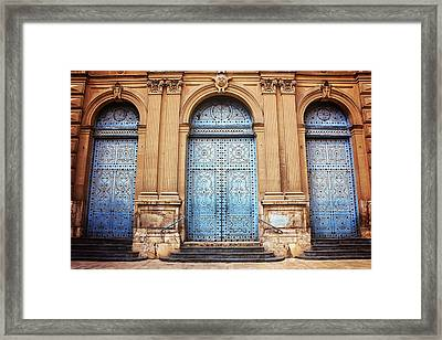 A Trio Of Doors In Valencia Spain Framed Print