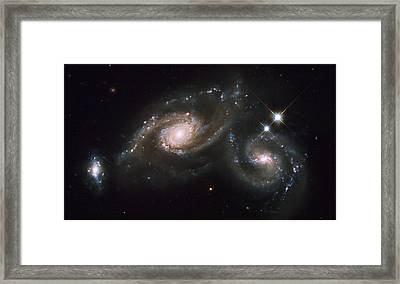 A Triplet Of Galaxies Known As Arp 274 Framed Print by Stocktrek Images