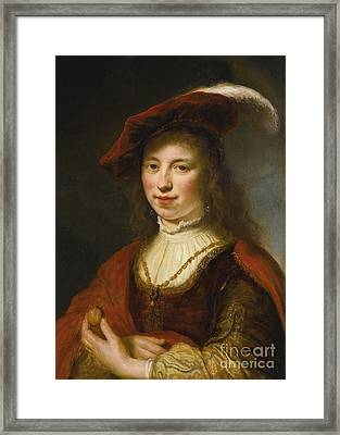 A Tronie Of A Young Woman Framed Print by MotionAge Designs