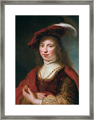 A Tronie Of A Young Woman Framed Print by Govert Flinck