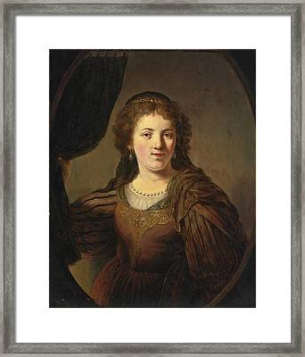 A Tronie Of A Young Woman In An Eastern Costume Drawing A Curtain To One Side In A Painted Oval Framed Print by Govert Flinck