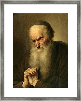 A Tronie Of An An Old Man At Prayer Framed Print by Jacques des Rousseaux