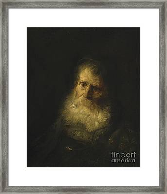 A Tronie The Head And Shoulders Of An Old Bearded Man Framed Print by Celestial Images