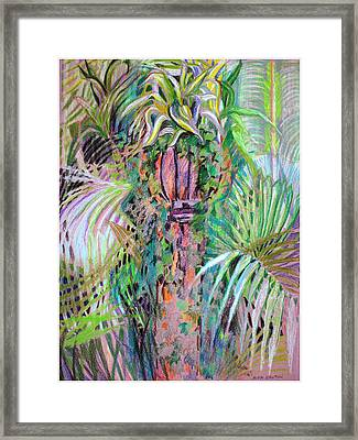 A Tropical Basket On A Post Framed Print by Mindy Newman