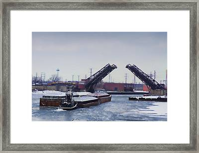 A Tug Boat Pushing A Barge Out To The Lake Framed Print