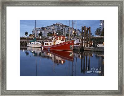 A Tugboat In Port Framed Print by Tim Grams