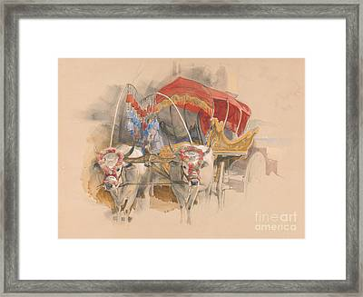 A Turkish Araba Drawn By Two White Oxen In Constantinople Framed Print by Celestial Images