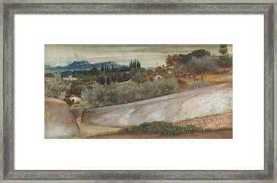 A Tuscan Landscape With Village And Olive Grove Framed Print by John Roddam Spencer Stanhope