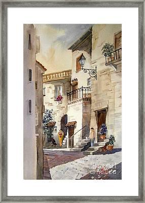 A Tuscan Street Scene Framed Print