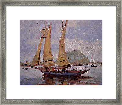 A Two Master Sails Into Morro Bay Framed Print by R W Goetting