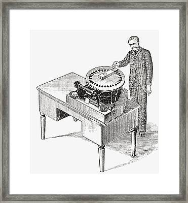 A Typewriter Of 1836. From The Strand Framed Print by Vintage Design Pics