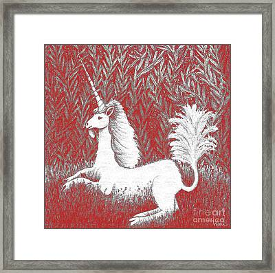 A Unicorn In Moonlight Tapestry Framed Print