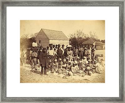 A Union Soldier Stands With African Framed Print