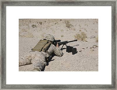 A U.s. Marine Zeros His M107 Sniper Framed Print by Stocktrek Images