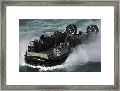 A U.s. Navy Landing Craft Air Cushion Framed Print by Stocktrek Images