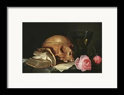 Skull In Rose Framed Prints