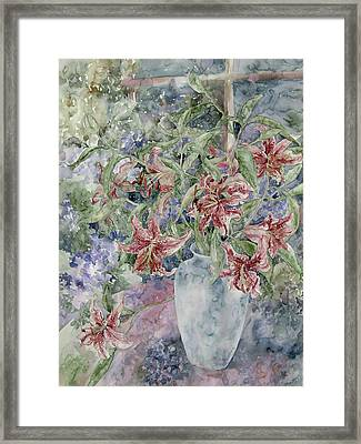 A Vase Of Lilies Framed Print by Kim Tran