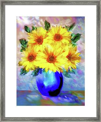 Framed Print featuring the painting A Vase Of Sunflowers by Valerie Anne Kelly