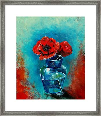 A Vase With Poppies  Framed Print by Veronique Radelet