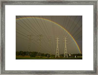 A Vast Array Of Electrical Towers Framed Print by Jason Edwards