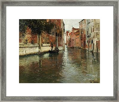 A Venetian Backwater  Framed Print by Fritz Thaulow