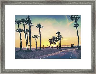 A Venice Beach Sunset Framed Print by Az Jackson