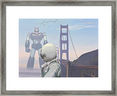 Framed Print featuring the painting A Very Large Robot by Scott Listfield