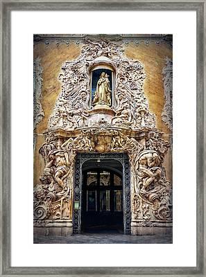 A Very Ornate Doorway In Valencia Spain  Framed Print