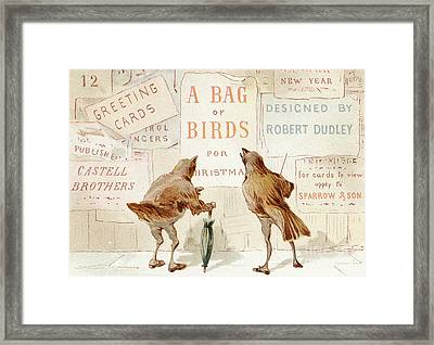 A Victorian Christmas Card Of Two Birds Looking At A Poster Of A Bag Of Birds For Christmas Framed Print
