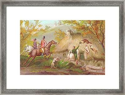 A Victorian New Year Card Of A Fox Hunt Framed Print