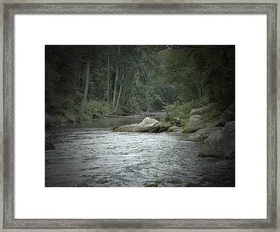 A View Downstream Framed Print by Donald C Morgan