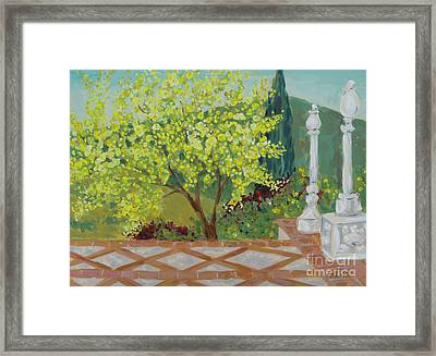 Framed Print featuring the painting A View From Hearst Castle by Maria Langgle